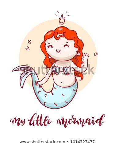 Little cute mermaid with calligraphic inscription. Vector hand drawn fairytale girl. Stock photo © vasilixa