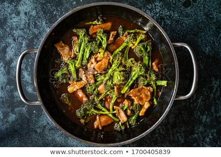 Disznóhús brokkoli keverés étel pár tálak Stock fotó © mpessaris
