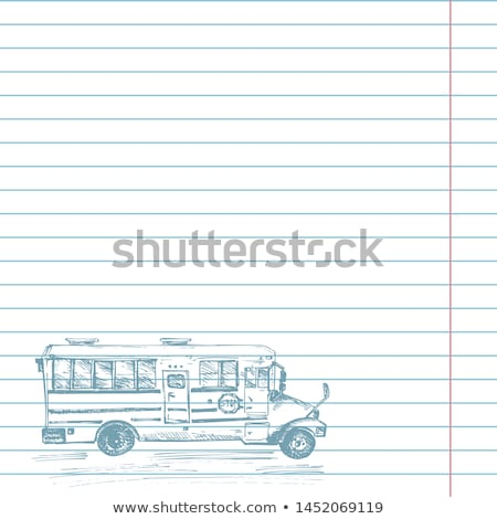 back to school concept cute sketch of school bus on notebook page stock photo © ikopylov