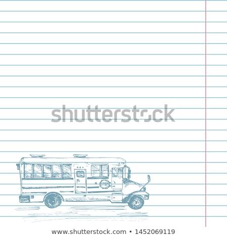 かわいい スケッチ スクールバス ノートブック ストックフォト © ikopylov