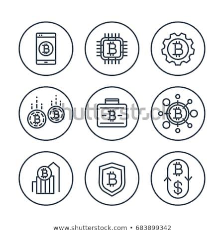Bitcoin портфеля монеты линия икона линейный Сток-фото © RAStudio