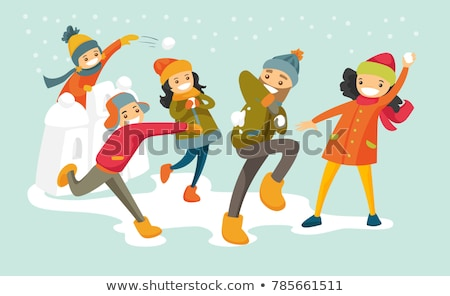 Jugendlichen spielen isoliert weiß Junge Mädchen Stock foto © robuart