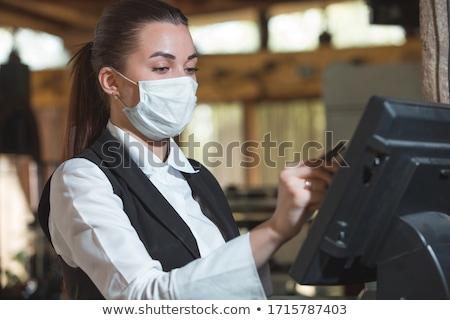 Pincérnő étterem ablak dolgozik munkás mosolyog Stock fotó © IS2