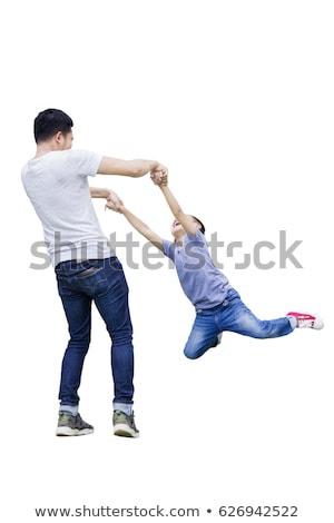 Garçon jouer main Swing illustration enfant Photo stock © bluering