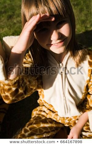 Meisje giraffe print kostuum leuk vrouwelijke Stockfoto © IS2