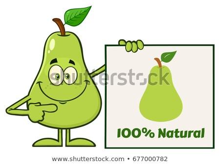 Yeşil armut meyve yaprak karikatür maskot karakter Stok fotoğraf © hittoon