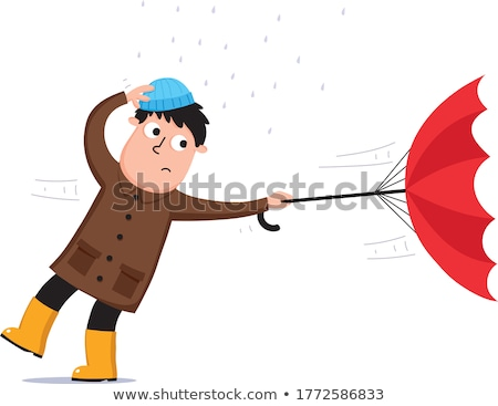 Ventoso giorno uomo Hat ombrello isolato Foto d'archivio © tiKkraf69
