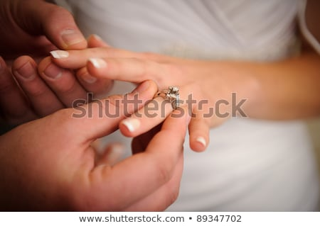 Engagement, bride and groom wedding ring Stock photo © studiostoks