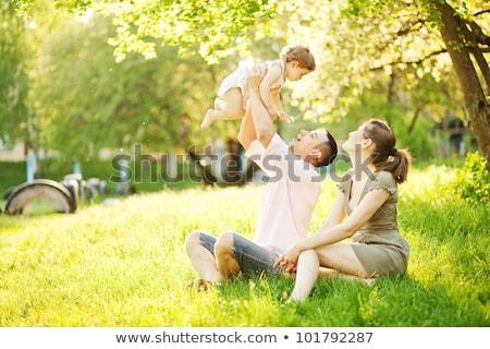 Boldog fiatal anya gyermek idő szabadtér Stock fotó © Yatsenko