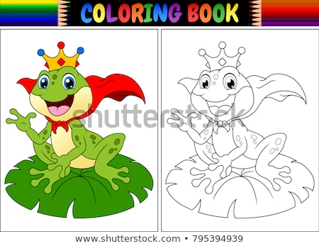Cartoon frog game. Vector coloring book pages Stock photo © Natali_Brill