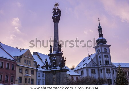 Plague column and city hall in Loket Stock photo © benkrut