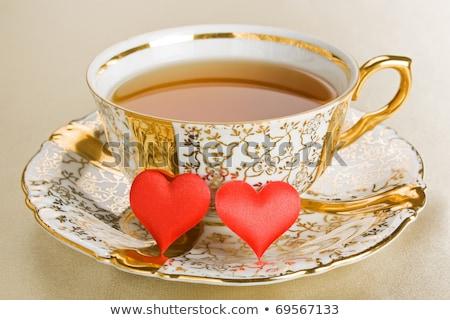 kávéscsészék · virágok · kávé · kávézó · fekete · élet - stock fotó © melnyk