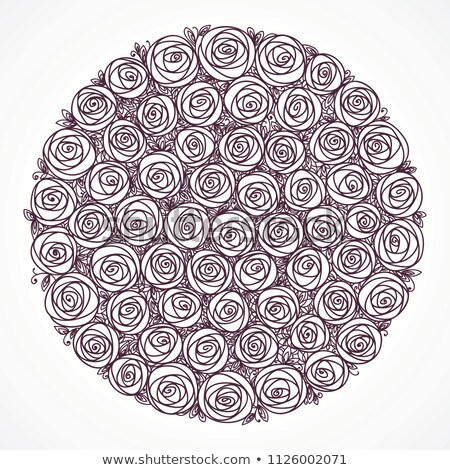 Roses bouquet. Stylized flowers. Isolated black adn white hand drawn line art Stock photo © ESSL