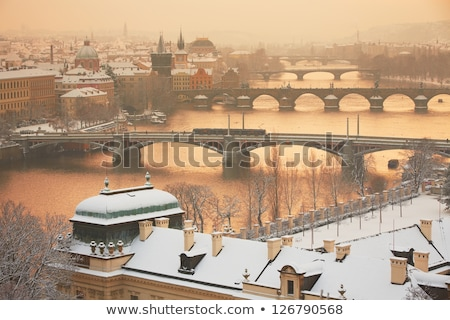Winter in Prague - bridges on Vltava River Stock photo © benkrut