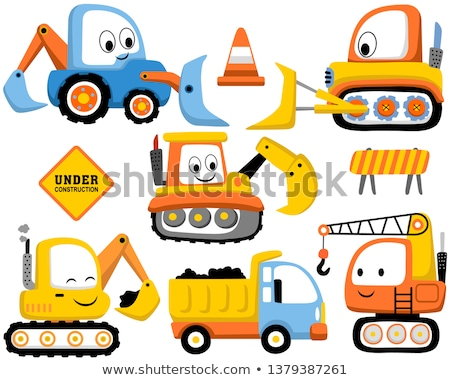 Cartoon Character Digger Bulldozer Vehicle Stock photo © Krisdog