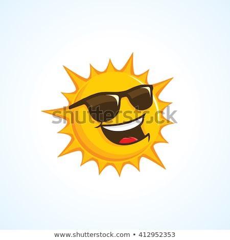 Heureux soleil mascotte dessinée personnage isolé blanche Photo stock © hittoon