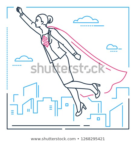businesswoman with a super power   line design style isolated illustration stock photo © decorwithme