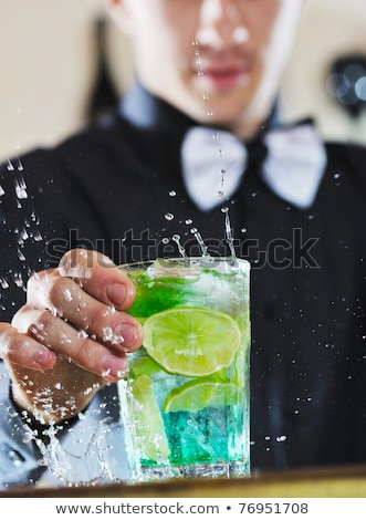 Stockfoto: Pro Barman Prepare Coctail Drink On Party
