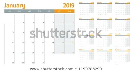 Agosto calendario modello dimensioni simboli Foto d'archivio © ivaleksa