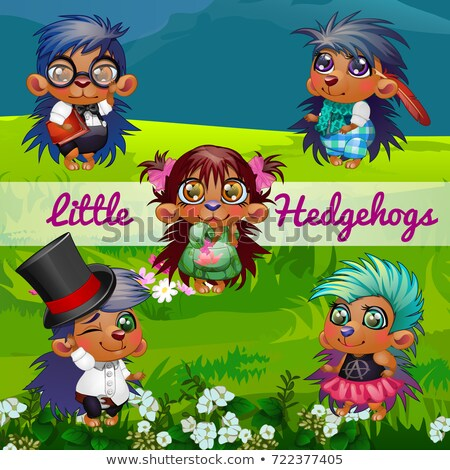 Funny poster with image of cute hedgehogs on a background of green grass on the lawn. Sample design  Stock photo © Lady-Luck
