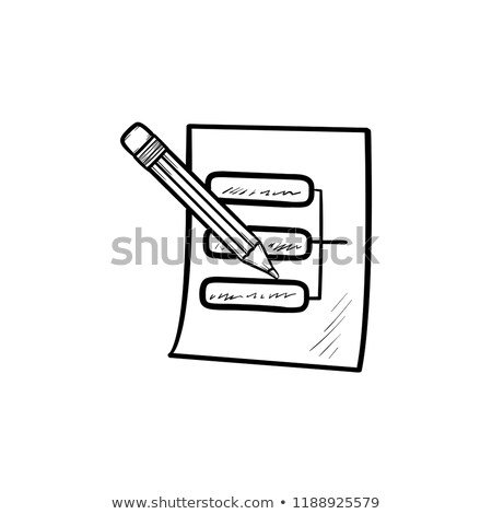 Pencil and paper sheet with system parts hand drawn outline doodle icon. Stock photo © RAStudio