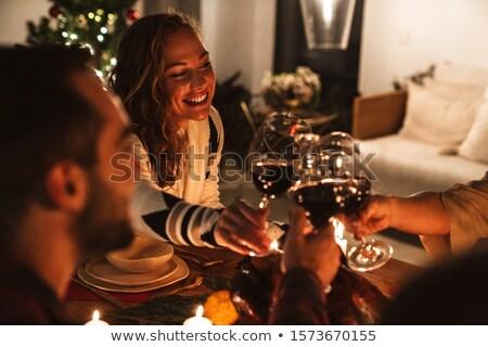 Dranken vieren paar bril wijn drinken Stockfoto © robuart