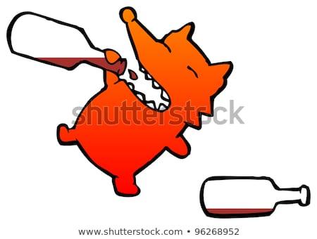 Ubriaco cartoon Fox illustrazione guardando Foto d'archivio © cthoman