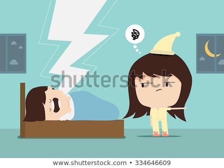 Cartoon arrabbiato donna pigiama guardando Foto d'archivio © cthoman