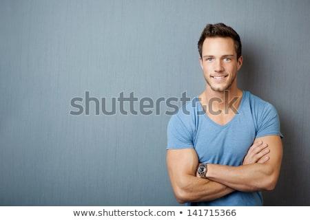 Porträt gut aussehend Bodybuilder lächelnd schauen Kamera Stock foto © Kzenon