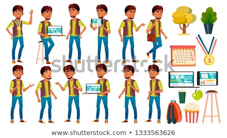 Boy Schoolboy Kid Poses Set Vector. High School Child. Secondary Education. Young, Cute, Comic. For  Stock photo © pikepicture