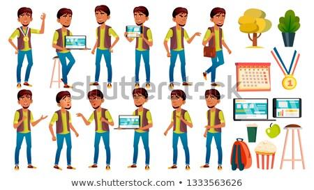 Erkek öğrenci çocuk ayarlamak vektör lise Stok fotoğraf © pikepicture
