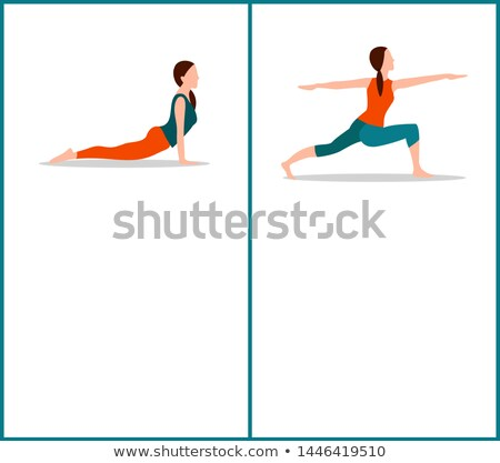 Stock photo: Yoga Warrior and Up Dog Postures, Colorful Card