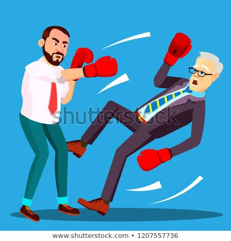 Stock fotó: One Businessman Loser Fell To Floor Second Lucky Businessman The Winner In Boxing Gloves Vector Is