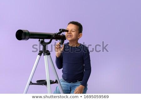 Nino mirar telescopio ilustración estrellas planeta Foto stock © adrenalina