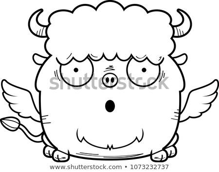 ストックフォト: Surprised Cartoon Buffalo Wings