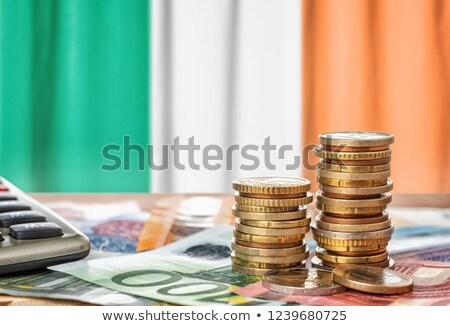 Euro bankjegyek érmék zászló Írország pénzügy Stock fotó © Zerbor