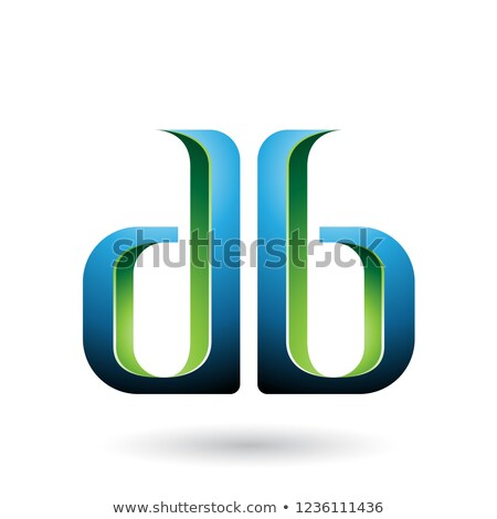 Green and Blue Double Sided Shape of Letter B Vector Illustratio Stock photo © cidepix