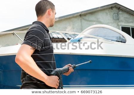 Csónak takarítás víz nyomás alátét munka Stock fotó © lunamarina