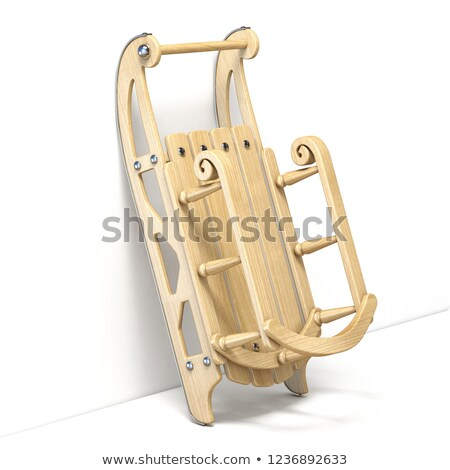 Stock photo: Wooden decorated sledge lean to wall 3D