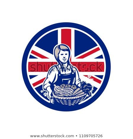 Brit női organikus gazda brit zászló zászló Stock fotó © patrimonio