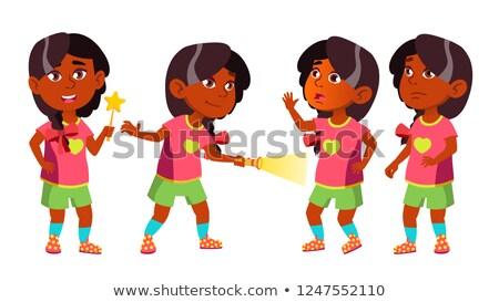 Foto stock: Nina · kindergarten · nino · establecer · vector · indio
