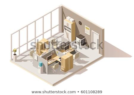 Vector isometric office room interior Stock photo © tele52