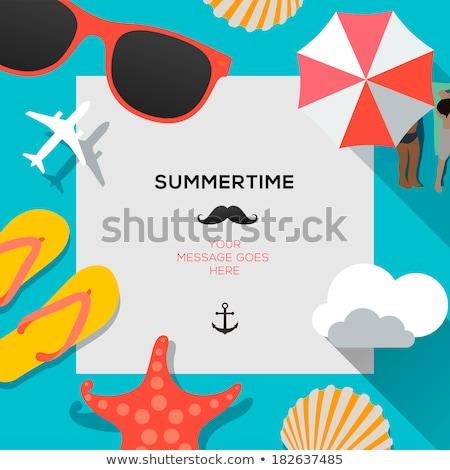 Nyár ünnepek tengerpart felirat szimbólum vektor Stock fotó © vector1st