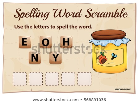 Spelling word scramble game template with word honey Stock photo © colematt