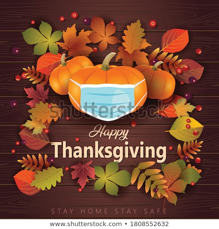 happy thanksgiving day poster with food vector stock photo © robuart
