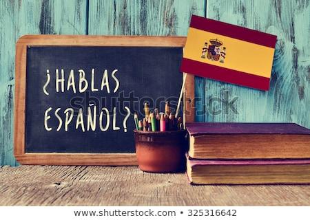 Pergunta falar espanhol escrito caucasiano Foto stock © nito