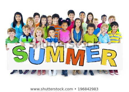 Children holding words for summer camp Stock photo © colematt