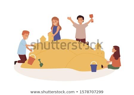 Sandbox Vector. Recreation Activity. Child Playground. Sandcastle. Isolated Flat Cartoon Illustratio Stock photo © pikepicture