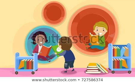 Stickman Kids Modern Library Pod Illustration Stock photo © lenm