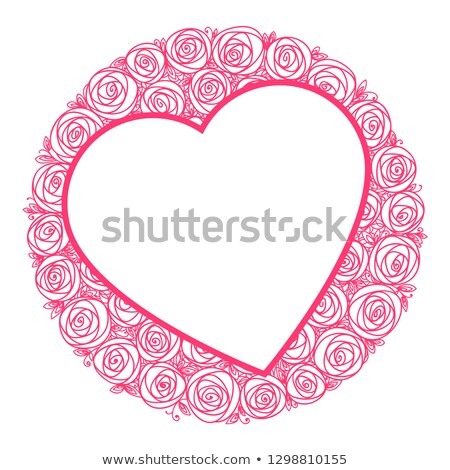 heart shape frame for message and round bouquet of roses flowers outline drawing illustration stock photo © essl